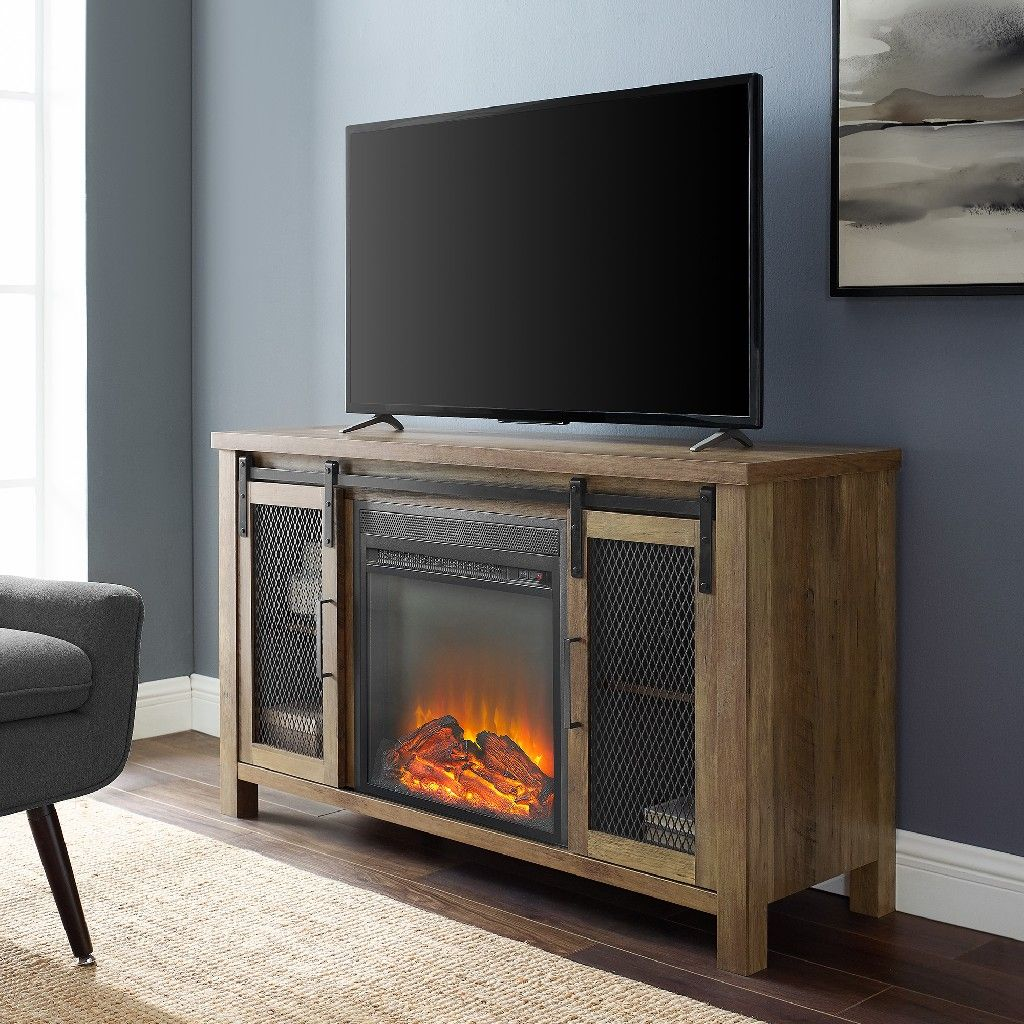 48 rustic farmhouse fireplace tv stand in rustic oak