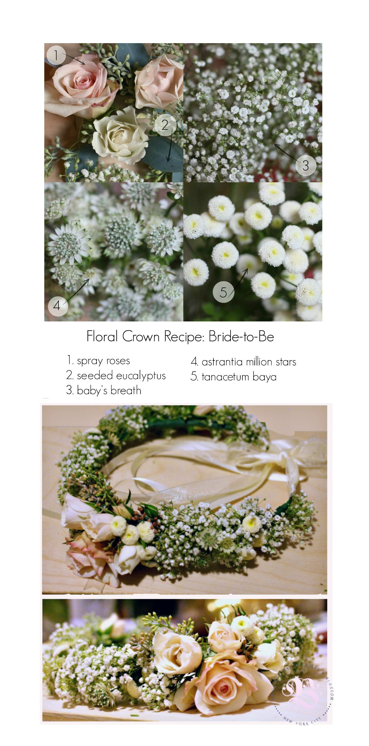 Floral Crown Recipe for an Engagement Photo Shoot | Light pink spray roses, ethereal baby's breath, cool-toned seeded eucalyptus, and tiny wildflowers with intricate, ivory petals, poetically-named astrantia million stars. #floralcrown #weddinghair