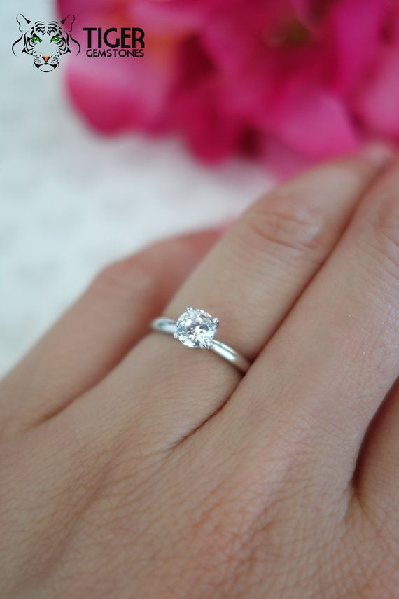 Size 4 5 7 5 1 2 Carat 14k White Gold 4 Prong Round Solitaire Engagement Ring Etsy Engagement Rings Round Solitaire Engagement Ring Classic Solitaire Ring