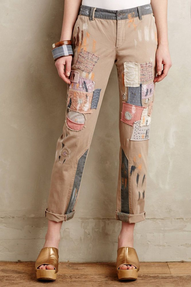 Pilcro Hyphen Patched Chinos Pants Various Sizes Beige NW