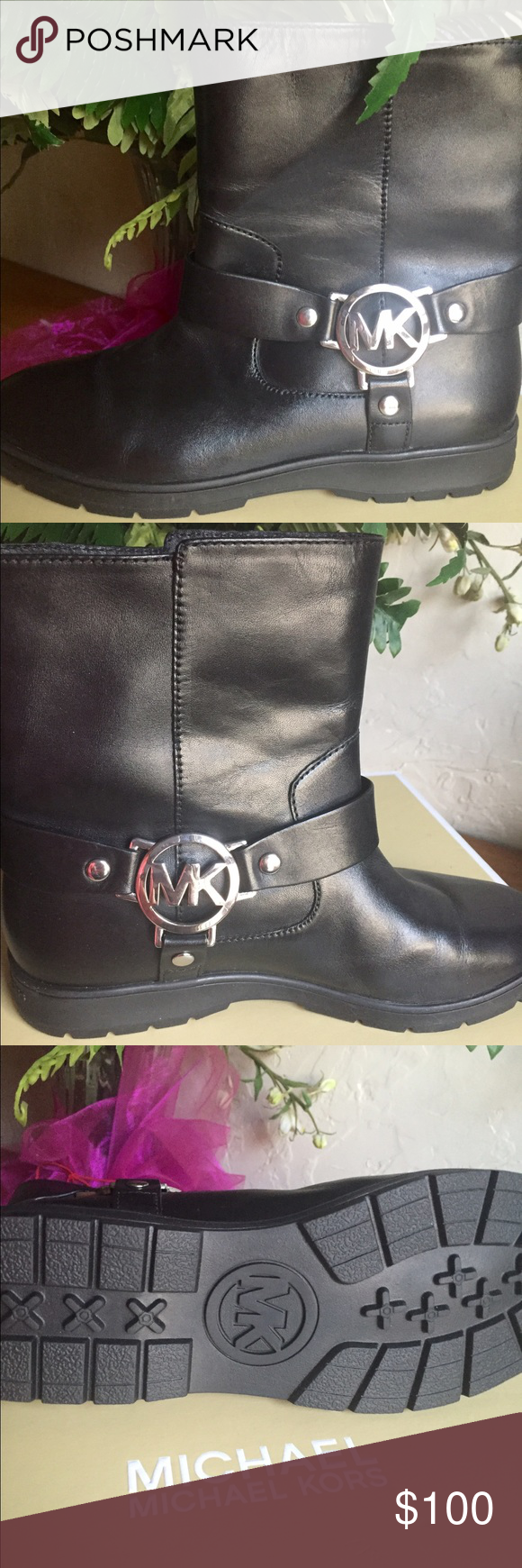 ♦️New♦️Michael Kors ankle boots! Black leather ankle boots with silver logo on both sides! Brand new! Michael Kors Shoes Ankle Boots & Booties