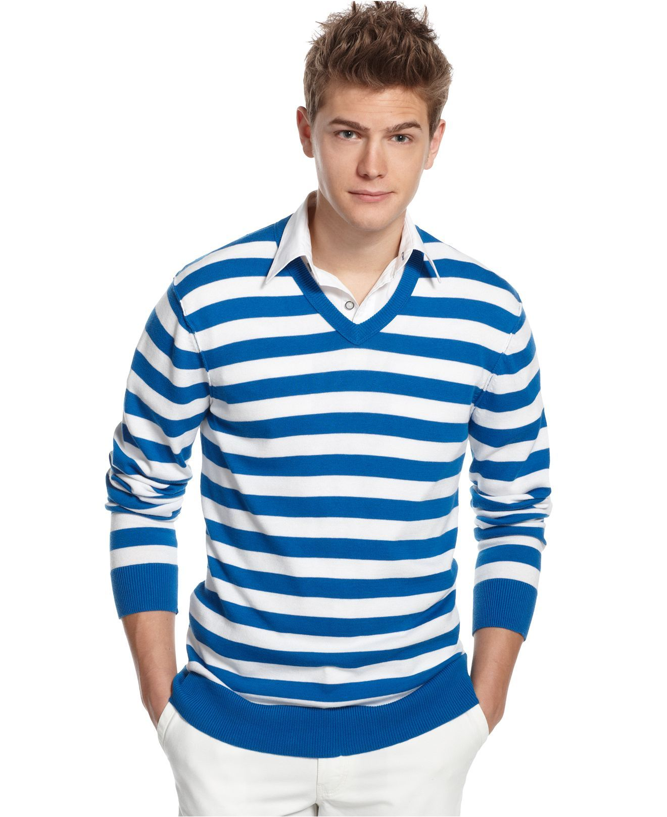 Kenneth Cole Reaction Sweater, Striped V Neck Sweater - Mens ...
