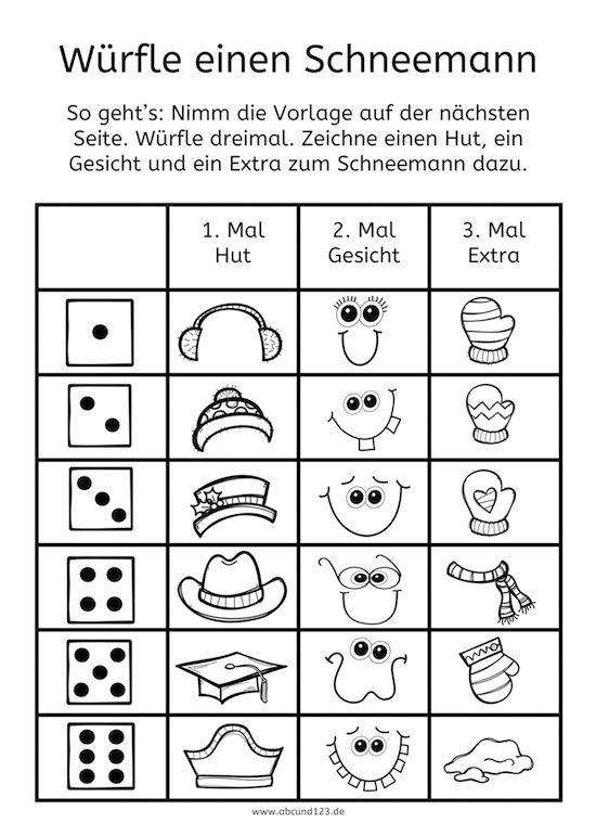 Schneemann Würfelspiel - | Deutsch | Pinterest | Winter ...