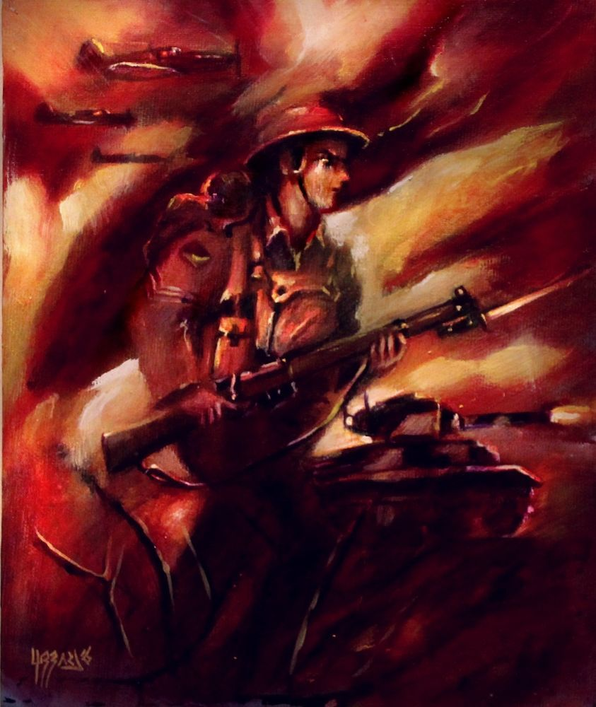 HUBBARD WW2 WAR THUNDER SOLDIERS ARMY MARCHING ON ART OIL PAINTING BLACKSUN13R #MINE