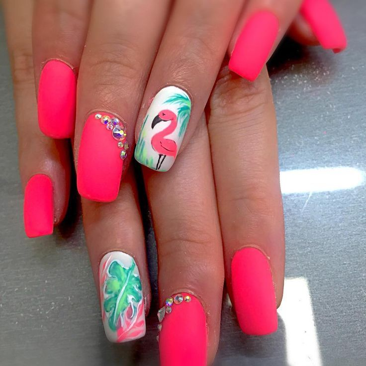 Beautiful nails! Don't go to the zoo just look down at your beautiful nails to see a bold, beautiful, majestic and cute flamingo color 💕💕 is part of nails - nails
