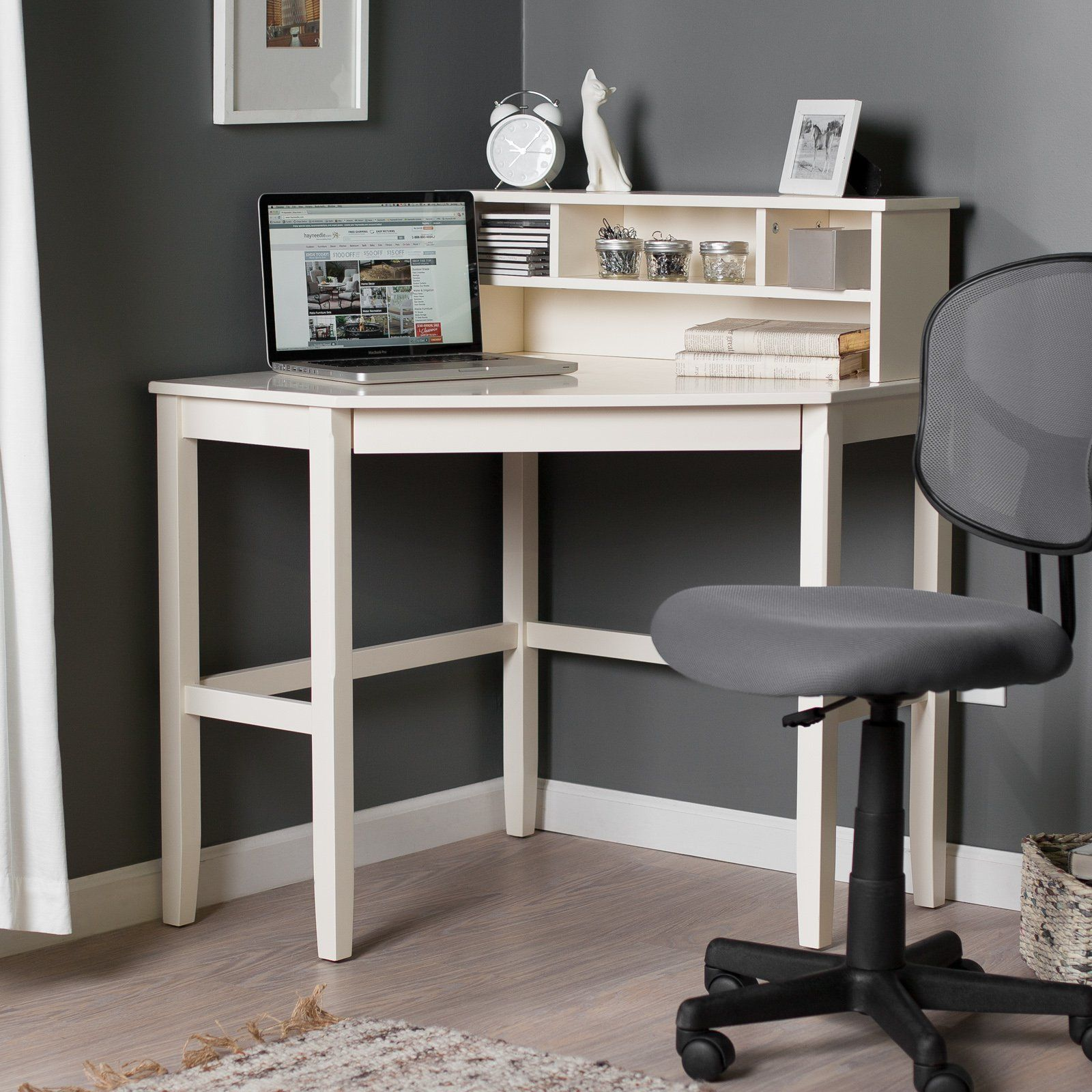 Corner Laptop Writing Desk With Optional Hutch Vanilla