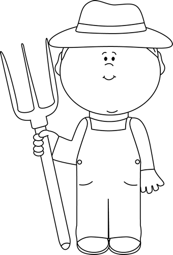 Farm Clipart Black And White : clipart, black, white, White, Farmer, Image, Black, Outline, White,, Images