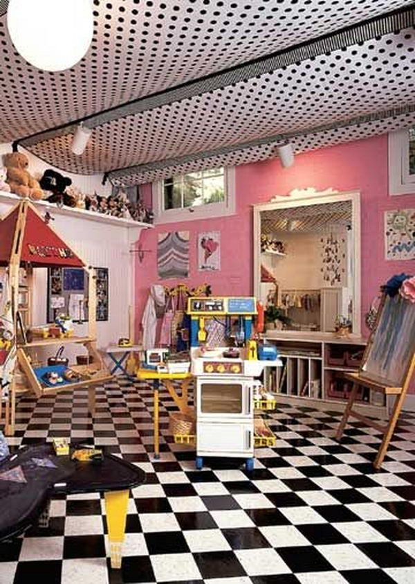 Tented Ceiling Playroom In Basement Created By Stapling Fabric Panels To Exposed Floor Joists