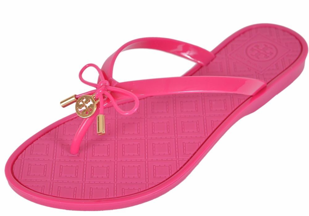 88d0faf1d61ab8 Tory Burch Women s SAUCY PINK Jelly T Logo Bow Tie Thong Sandals Shoes SIZE  7