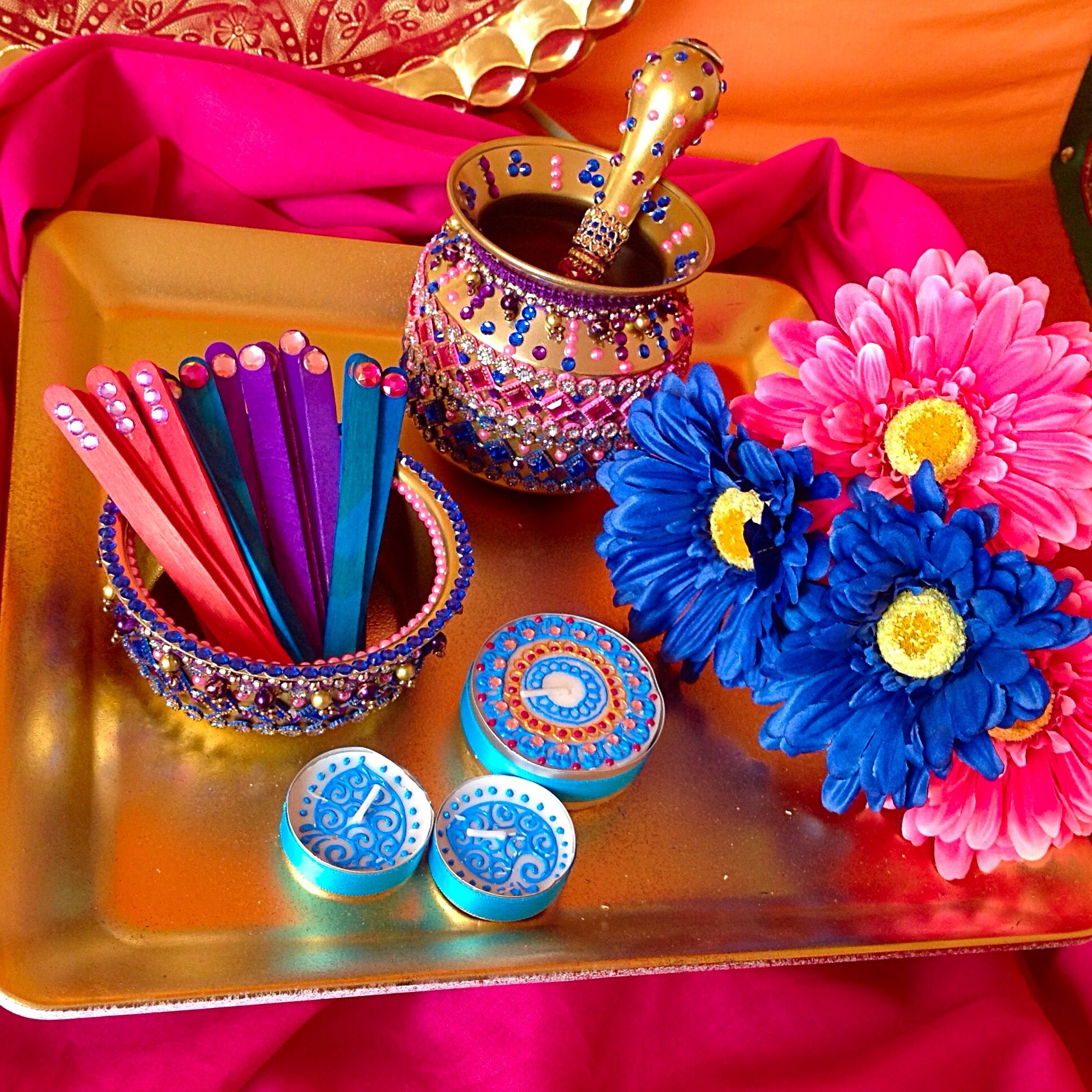 Mehndi Decoration Simple : Hand decorated matki and mehndi pot see facebook