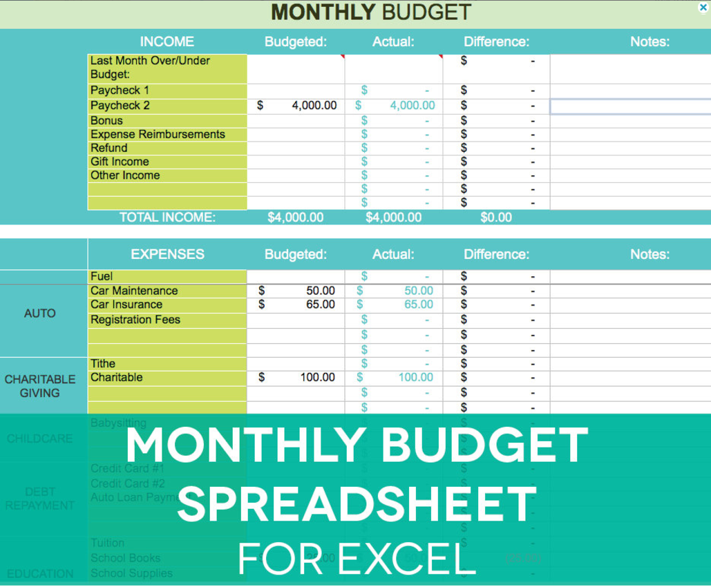 Account Suspended Monthly Budget Spreadsheet Monthly Budget Budget Spreadsheet