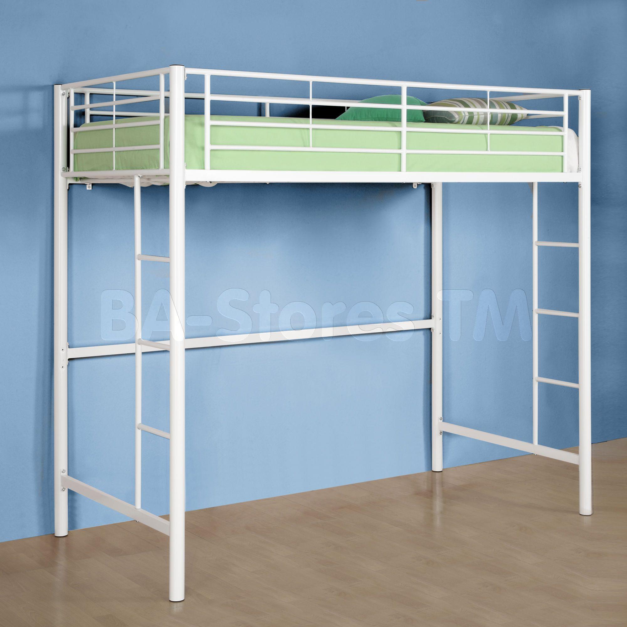 Best Sunrise Twin Metal Loft Bed White Loft Bed Twin Loft 400 x 300
