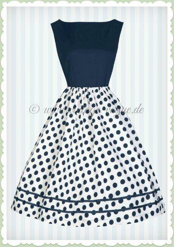 2d7a59ab9c0bf1 Lindy Bop 50er Jahre Retro Petticoat Punkte Kleid - Audrey - Navy Blau  Vintage Audrey Hepburn