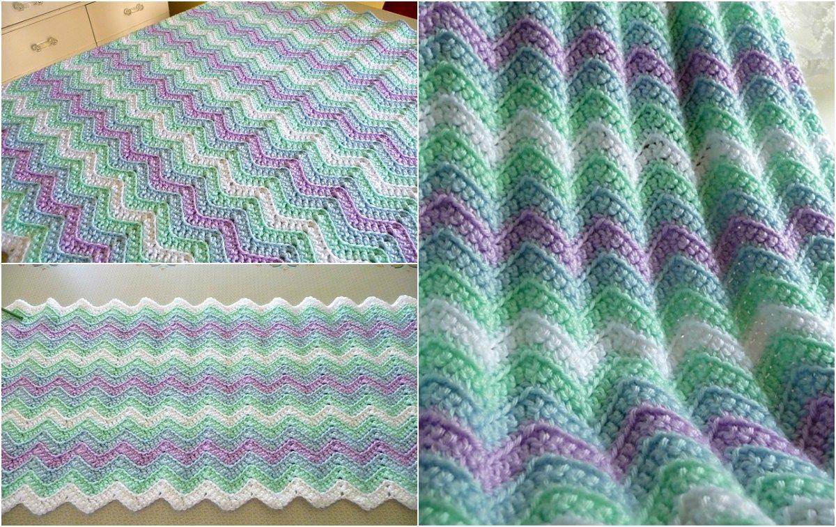 rickrack rainbow baby blanket - Hakelmutzen Muster