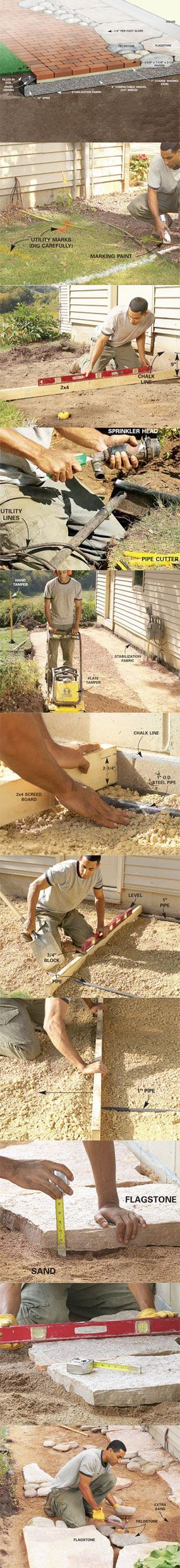 With a little imagination and a lot of muscle, you can build this walk in a three-day weekend. Get all the steps at http://www.familyhandyman.com/DIY-Projects/Outdoor-Projects/Garden/Brick-Walkway/how-to-build-pathways-brick-and-stone-pathways/View-All