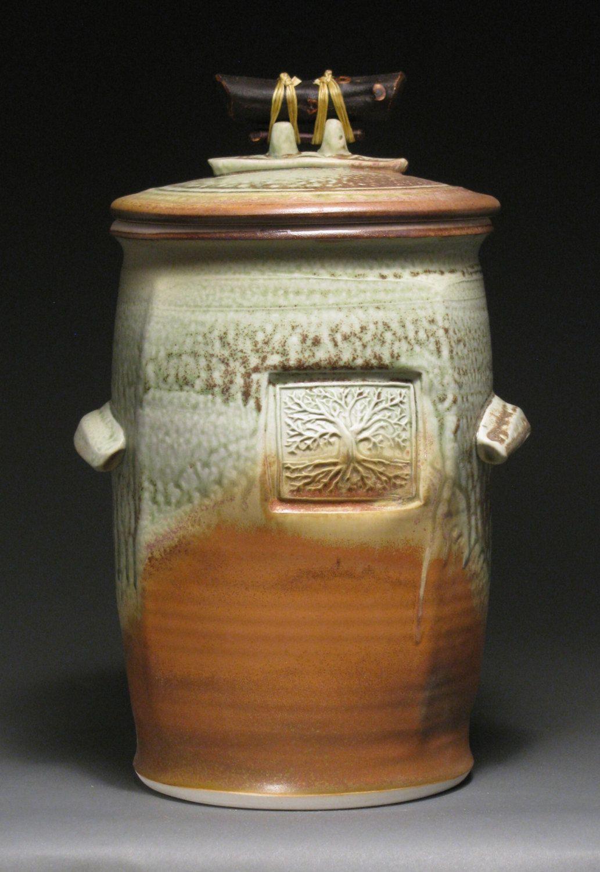 Large Lidded Jar Suitable For Compost Sauerkraut Kimchi Cookies Flour Green Ash Glazed Porcelain Manzanita Twig Handle Pottery Jars Jar Jar Lids