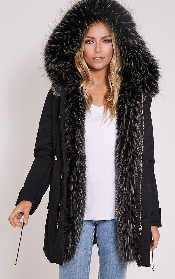 Emmi Black Premium Faux Fur Lined Parka Coat, Black - http://clickmylook.com/product/emmi-black-premium-faux-fur-lined-parka-coat-black