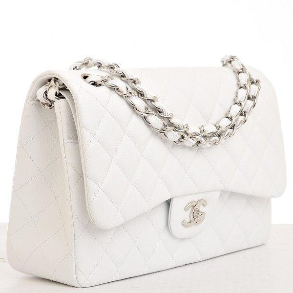 aa25f41de398 Chanel White Quilted Caviar Jumbo Classic 2.55 Double Flap Bag |...  (350,515 INR) ❤ liked on Polyvore featuring bags, handbags, accessories,  chanel, ...