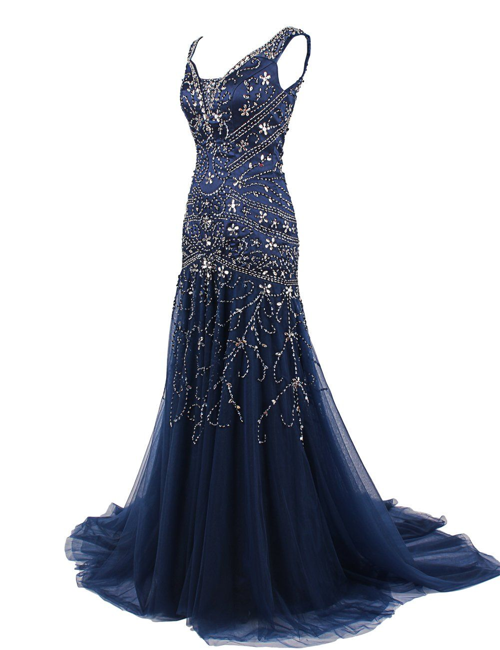 Dressystar mermaid beaded straps wedding prom evening dresses with