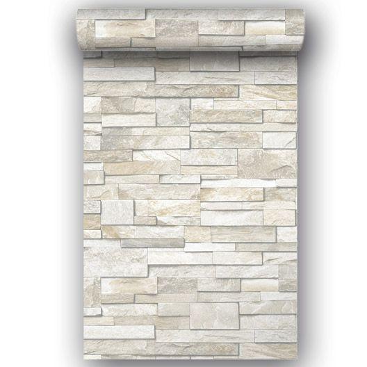 Papier peint vinyle sur intissé Brique marbre, blanc, larg. 0.53 m