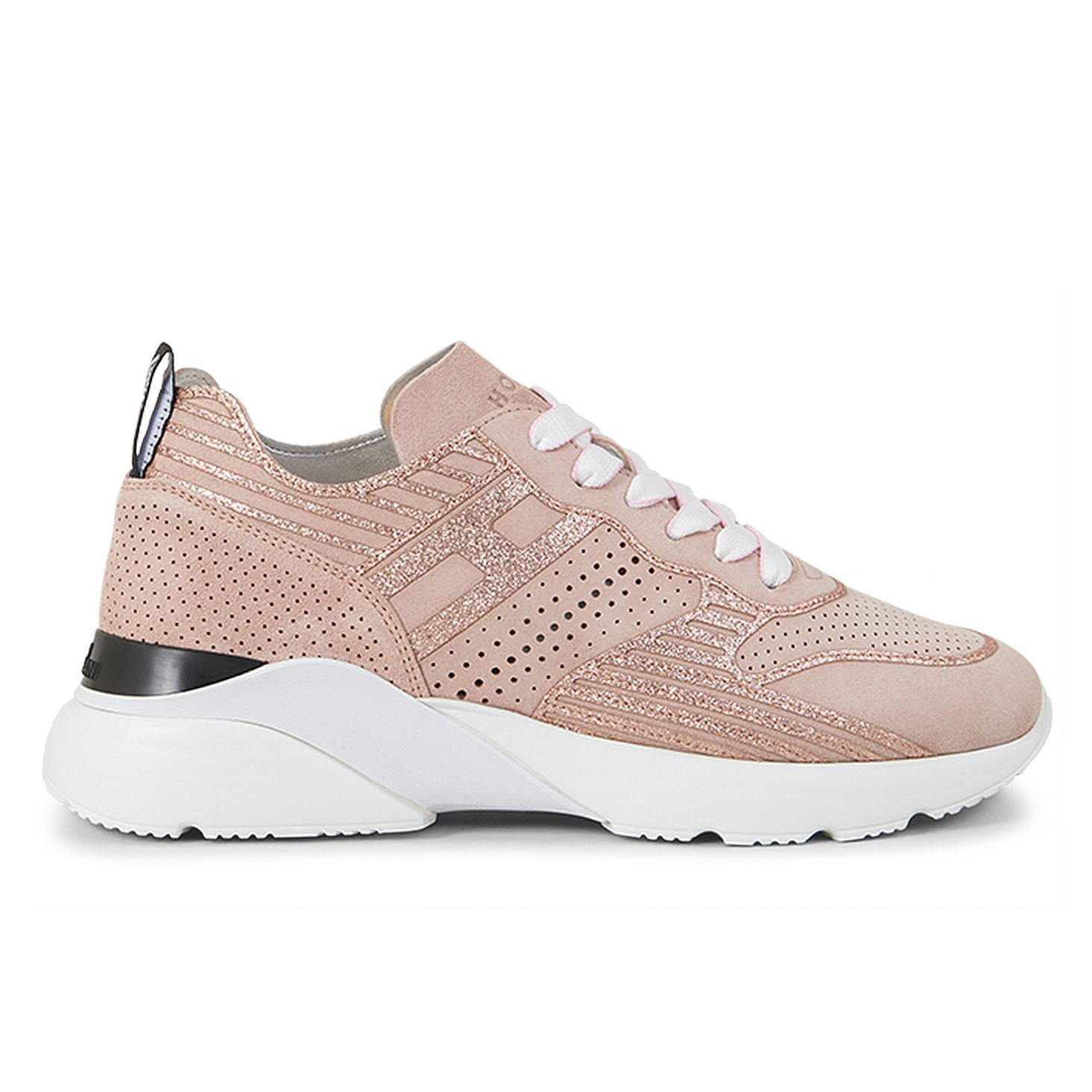 Sneakers Hogan Active One rosa in suede e glitter