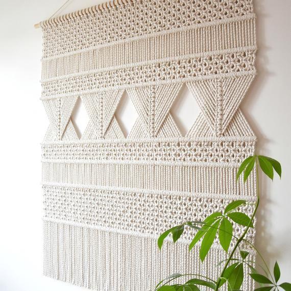 macrame wall hanging XL, geometric tapestry, wall fiber art, macrame pattern decoration, modern macrame, woven art, made to order TOURMALINE