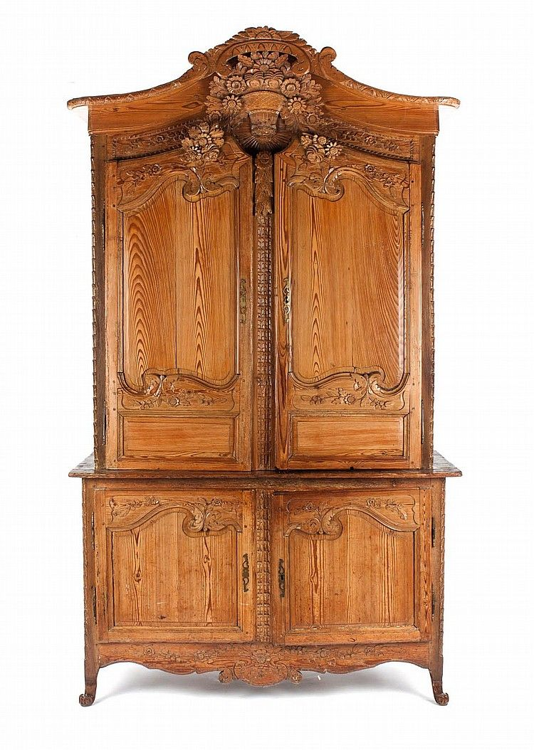 French Provincial carved pine armoire 19th century; scroll