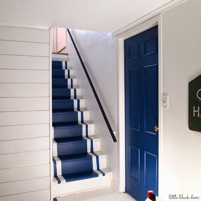 Painted Basement Stairs Ideas: Painted Blue And White Stairs.