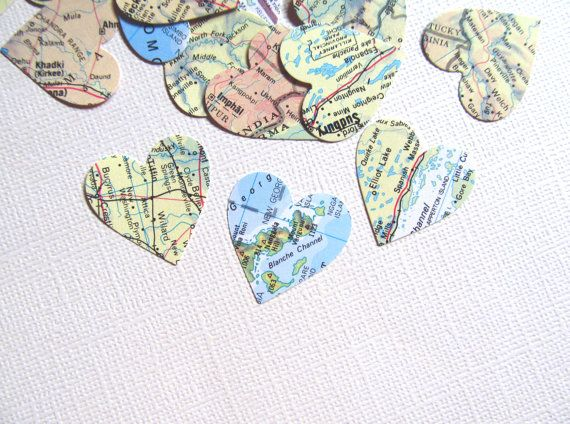 200 vintage map hearts paper die cuts party decor travel theme 200 vintage map hearts paper die cuts party decor travel theme confetti weddings showers gumiabroncs Gallery