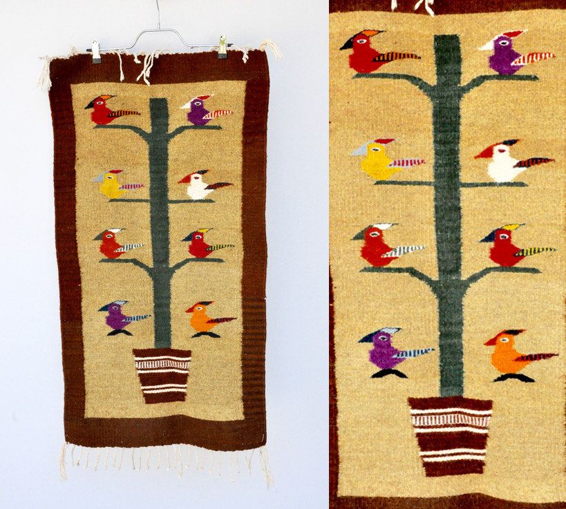 WOOL Rug / Wall Hanging / Tree of Life / Birds Tree Rug / Wall Art ...