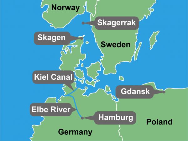 Map showing Port of Hamburg Kiel Canal Trips I need to go on