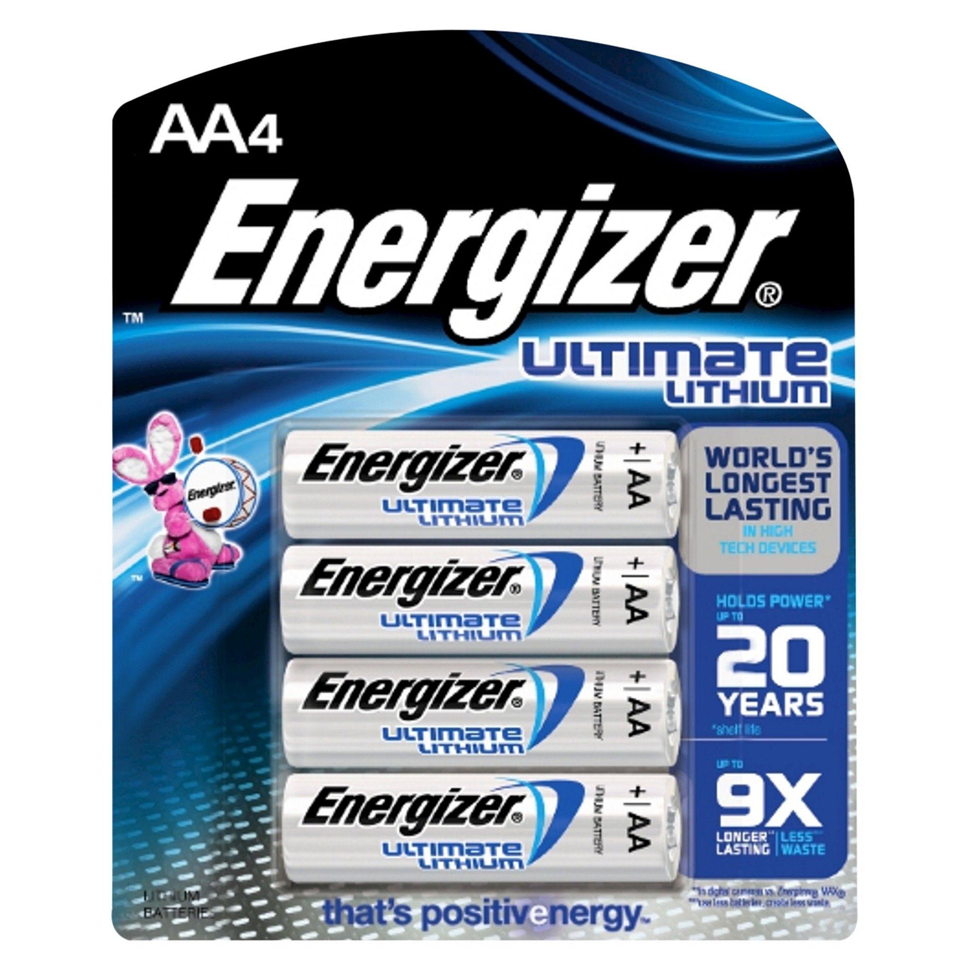 Energizer 4pk Ultimate Lithium Aa Batteries Energizer Energizer Battery Batteries