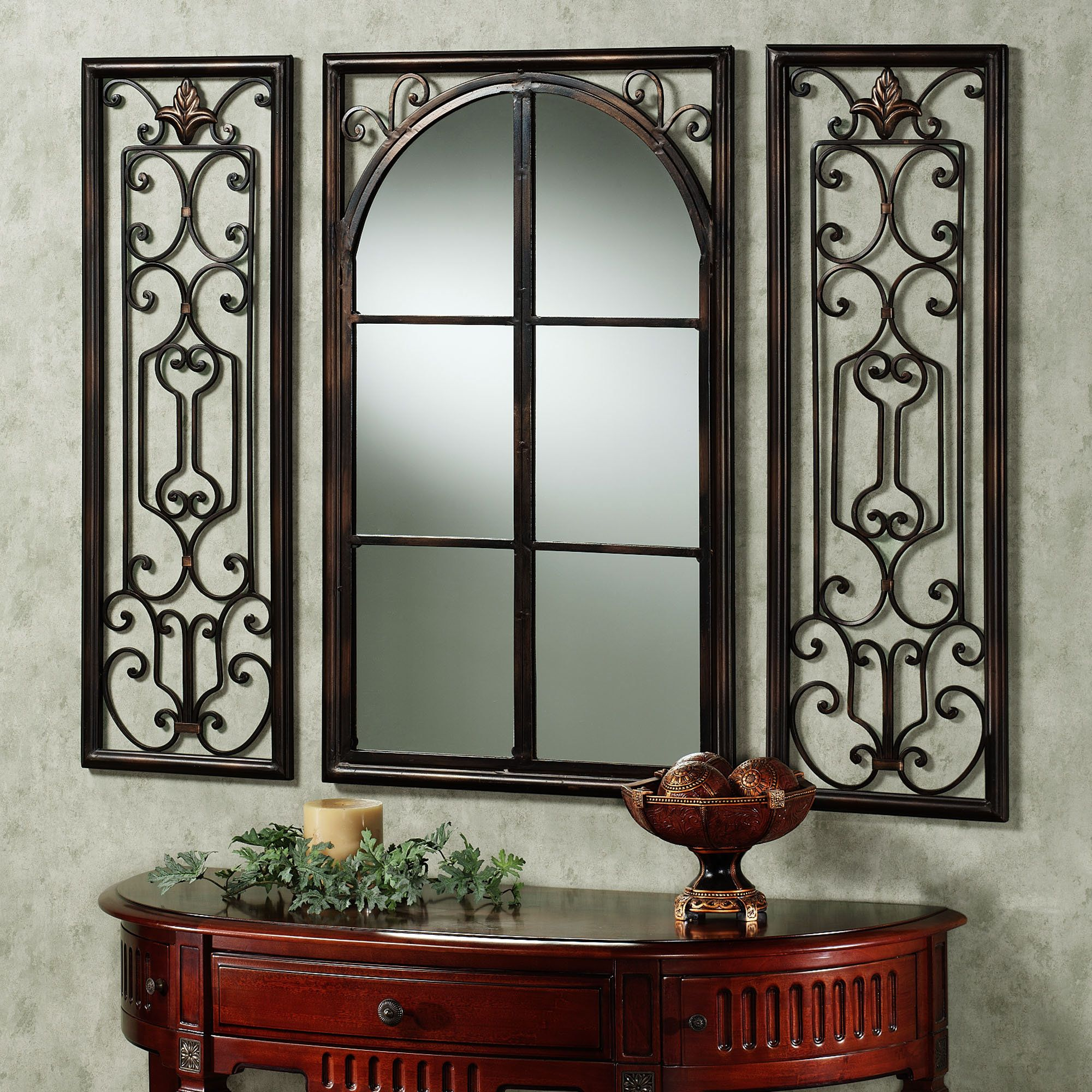 The Ornate Bronze Finished Iron Provence Wall Mirror And Shutter Set Will Add Dimension Light To Your Foyer Or Living Room Central Is Divided