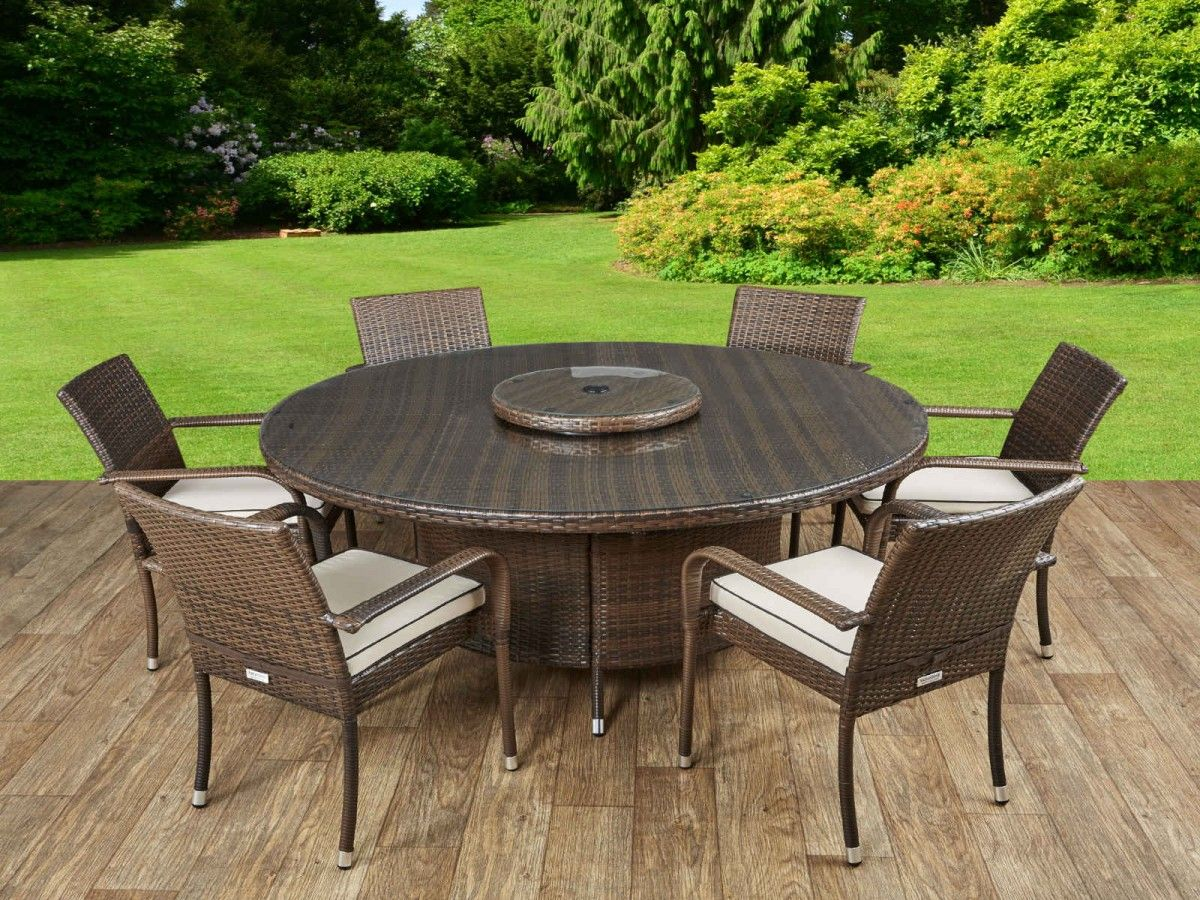 Roma 6 Rattan Garden Chairs Large Round Table And Lazy Susan Set