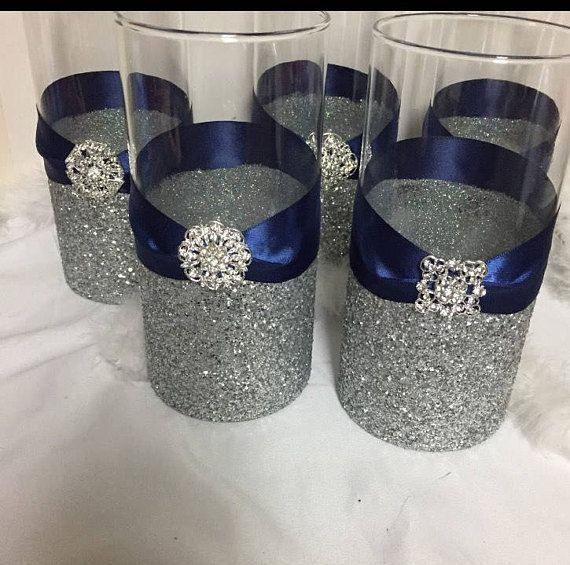Wedding Centerpiece 1 Silver Glitter Vase Navy Blue