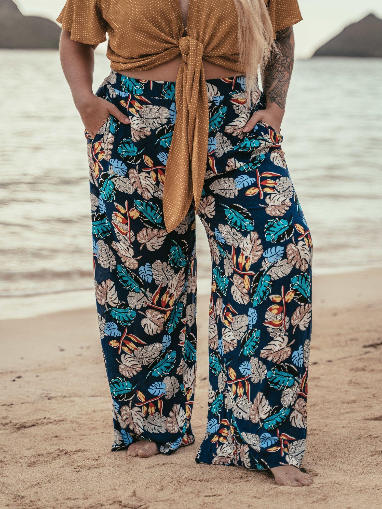 Nikki Pant: Blue Leaf — Shop | More Human | plus size beach outfits vacations floral prints