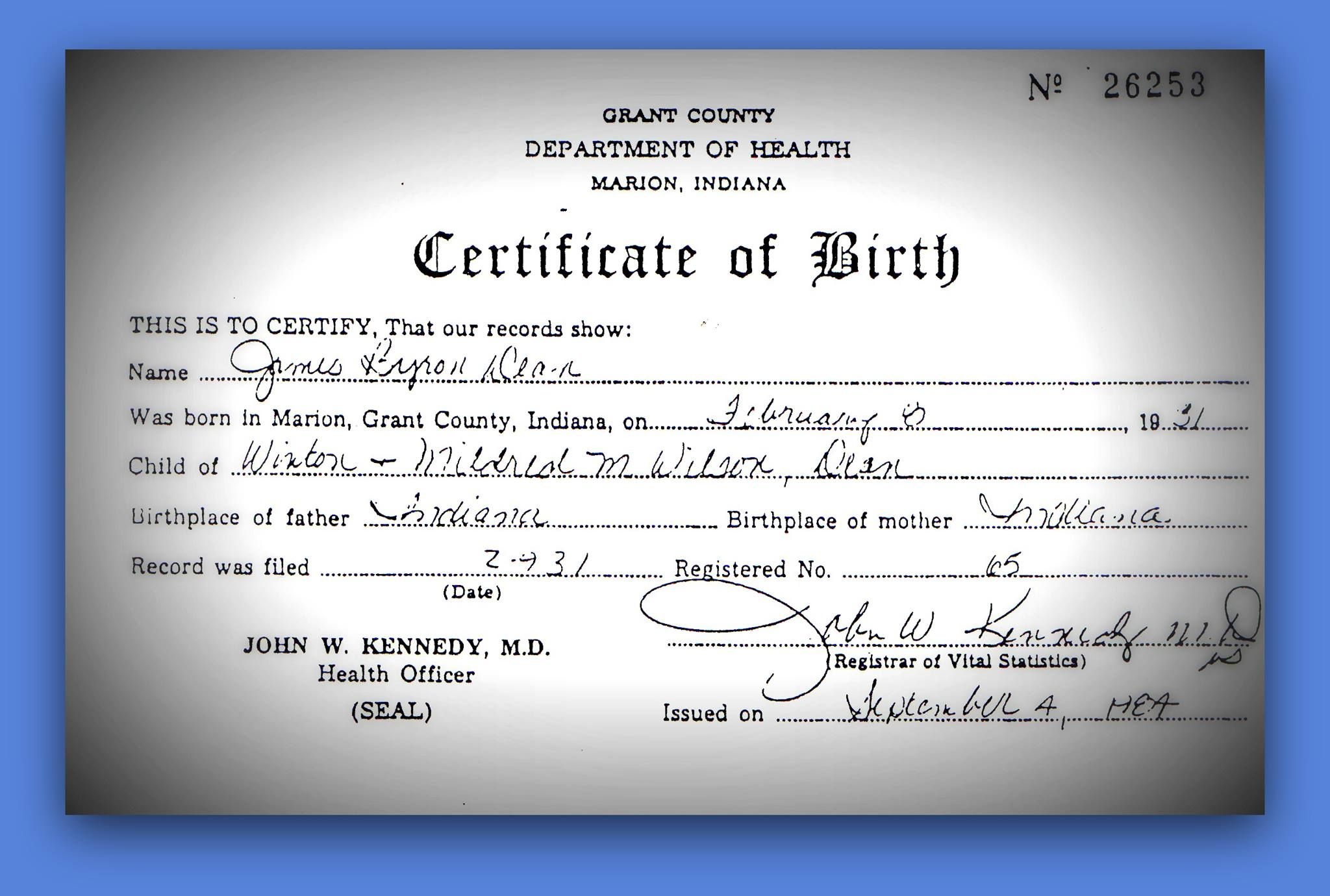 Jamesdean Jims Birth Certificate My Jimmy Pinterest Birth