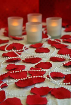 Romantic Room Of Candles Rose Petals And Pearls On Creative