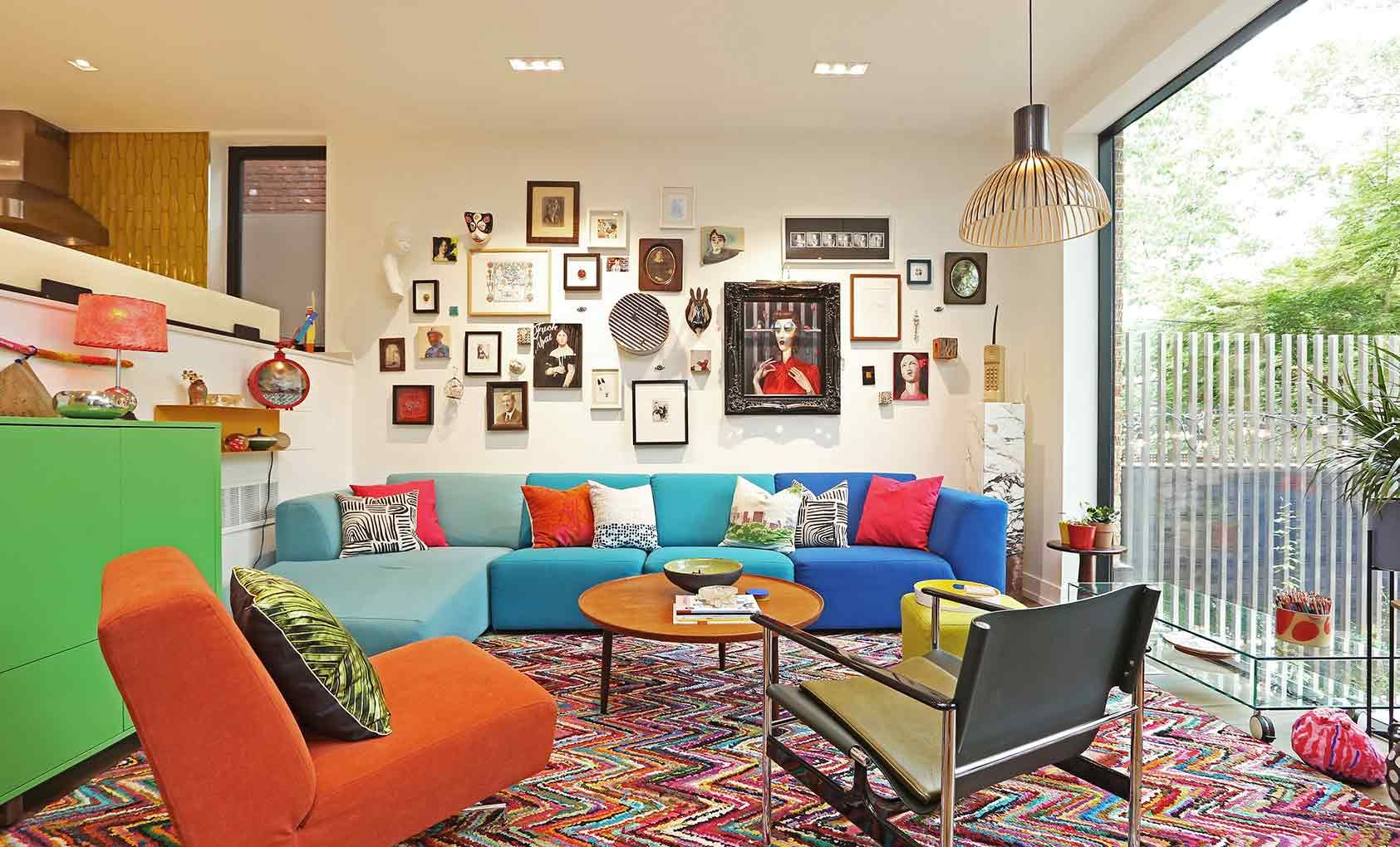 colorful living room with modern multi-colored furniture