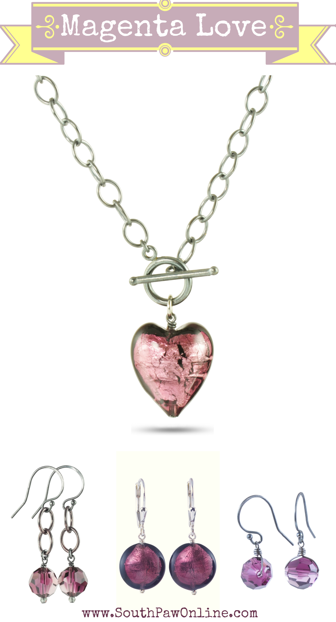 Magenta Love | http://southpawonline.com/collections/queen-of-hearts/products/purple-venetian-glass-toggle-necklace