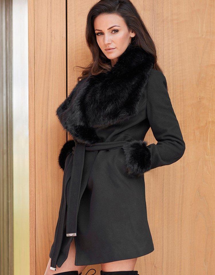 e41687155f7c Lipsy Love Michelle Keegan Faux Fur Wrap Coat | Women's outwear ...