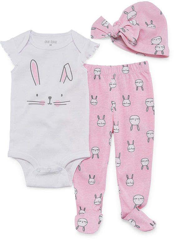 2afad08dc Okie Dokie Pink Bunny 3-pc. Layette Set-Baby Girls