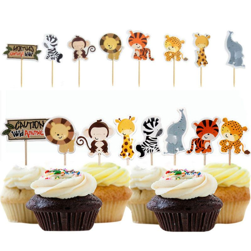 1 33 24 Pcs Animals Cupcake Toppers Picks Cake Decor For Kids