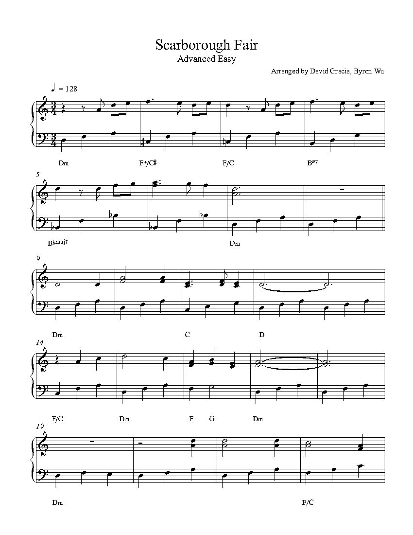 Scarborough Fair By Piano Sheet Music Advanced Level Sheet