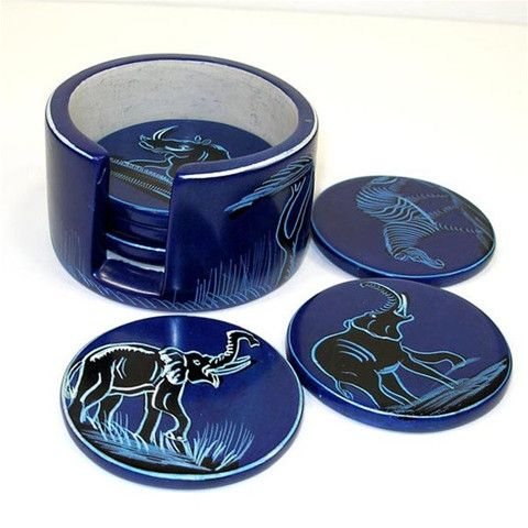 Set of 6 Handmade Blue Soapstone Coasters (Kenya) – globalcrafters