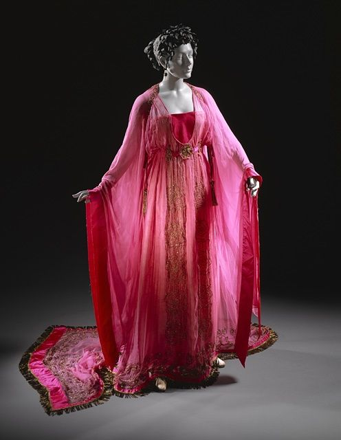 """Madam Hepzibah Smith's robes from Hokey's (her house elf's) memory about Tom Riddle, as seen by Harry and Dumbledore in the Pensieve in Harry Potter and the Half-Blood Prince. """"…a brilliant pink set of robes…flowed all around her, giving her the look of a melting iced cake."""""""