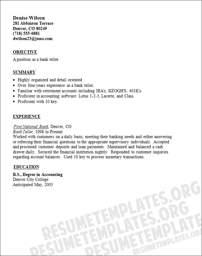Resume For Bank Job Actuary Exampl Sample Teller Jobs Cover