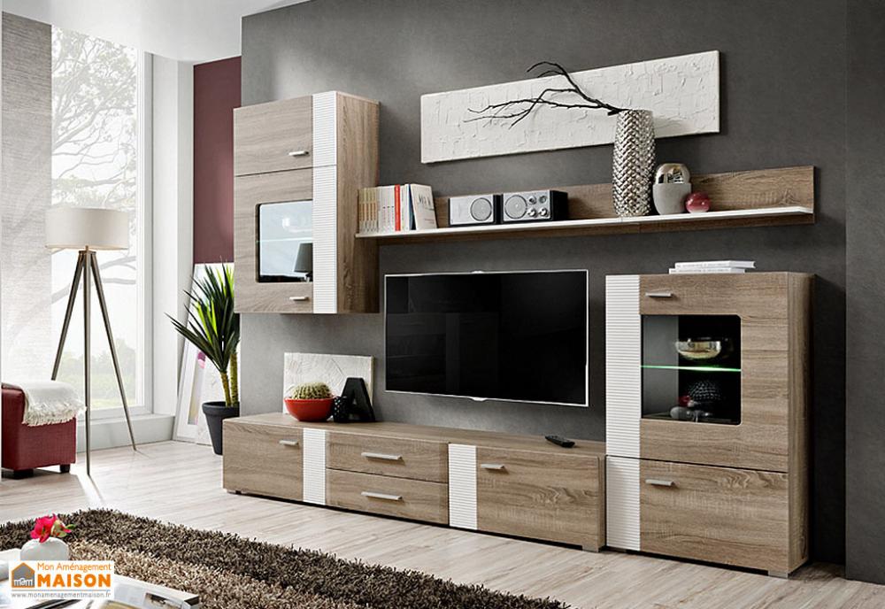 ensemble meuble tv et vitrines en bois
