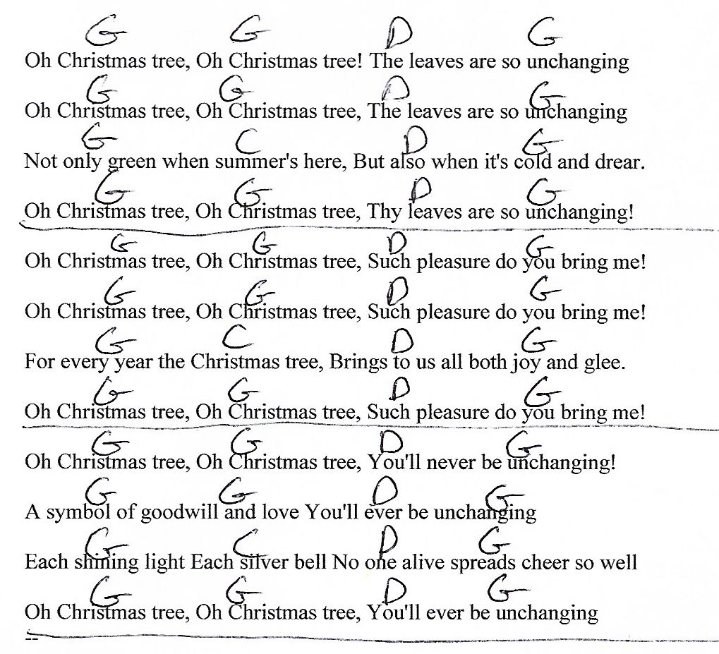 O Christmas Tree - G Major - Guitar Chord Chart with Lyrics - http ...