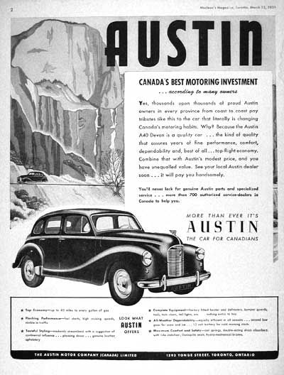 1951 Austin Devon A40 Sedan original vintage advertisement. Illustrated in black & white.